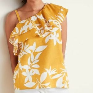 NWT Old Navy Ruffled One-Shoulder Yellow Top XXL